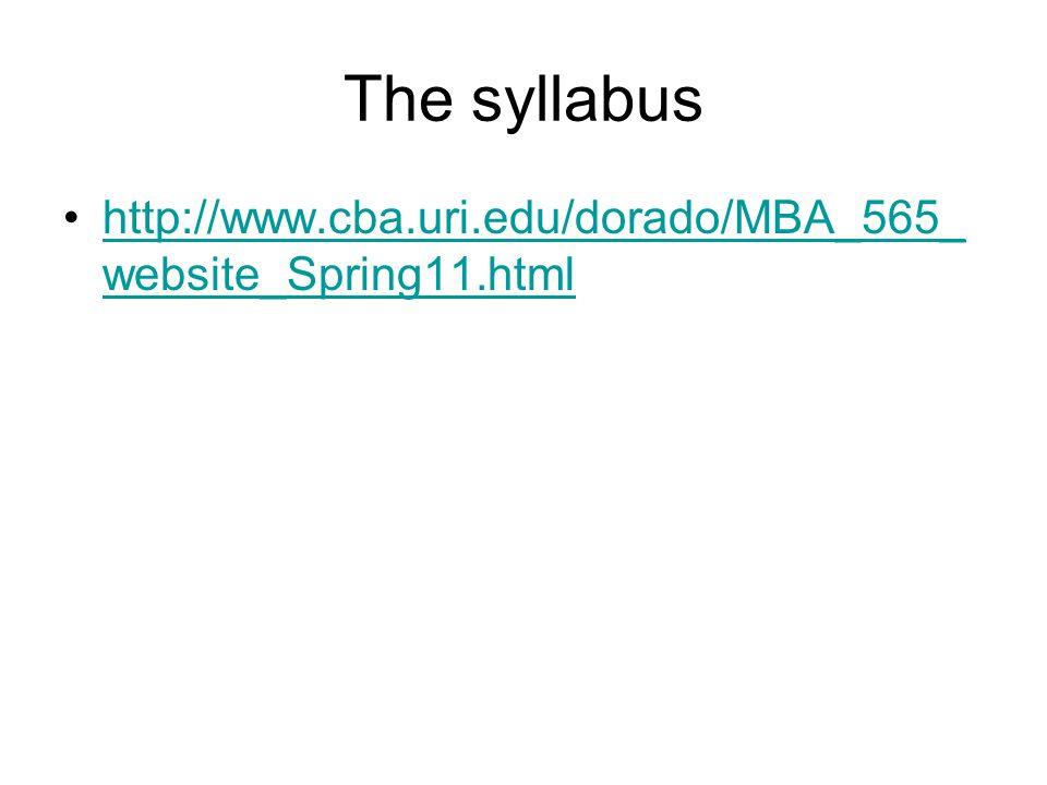 The syllabus http://www.cba.uri.edu/dorado/MBA_565_ website_Spring11.htmlhttp://www.cba.uri.edu/dorado/MBA_565_ website_Spring11.html