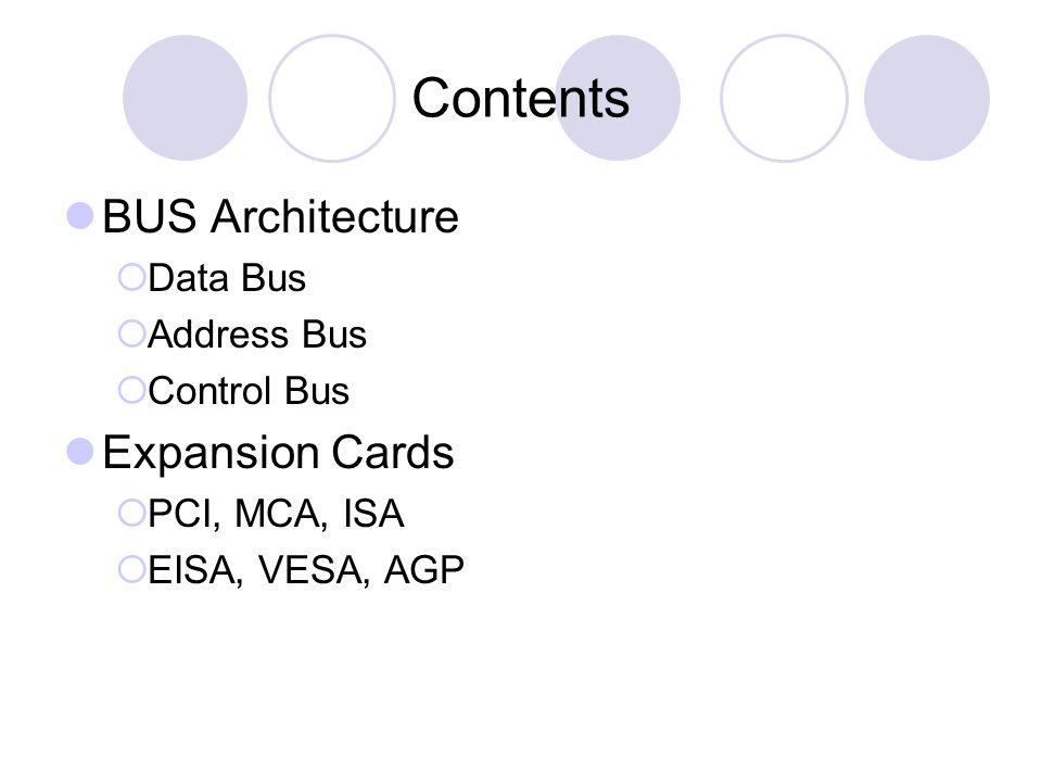 BUS ARCHITECTURE PROCESSOR MEMORY Input / Output Address Bus Data Bus Control Bus