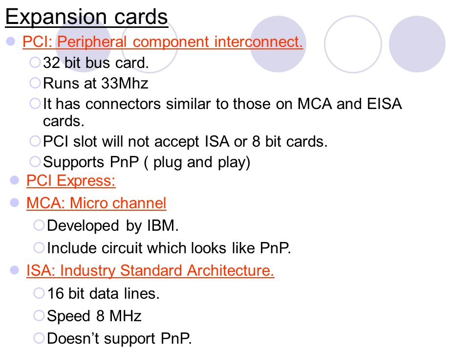 Expansion cards EISA: Extended Industry Standard Compatible with ISA.