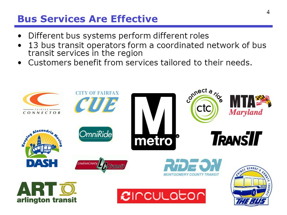 4 Bus Services Are Effective Different bus systems perform different roles 13 bus transit operators form a coordinated network of bus transit services