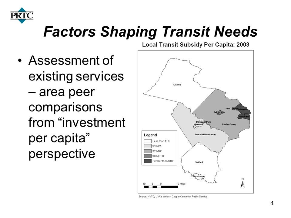 14 Factors Shaping Transit Needs Assessment of existing services – area peer comparisons from investment per capita perspective
