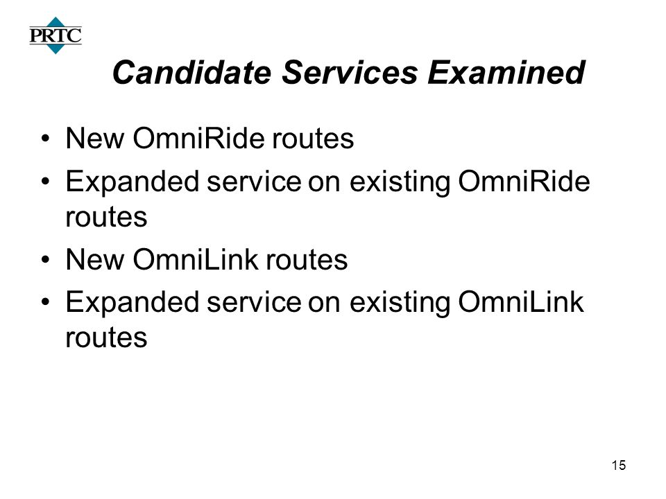 15 Candidate Services Examined New OmniRide routes Expanded service on existing OmniRide routes New OmniLink routes Expanded service on existing OmniL