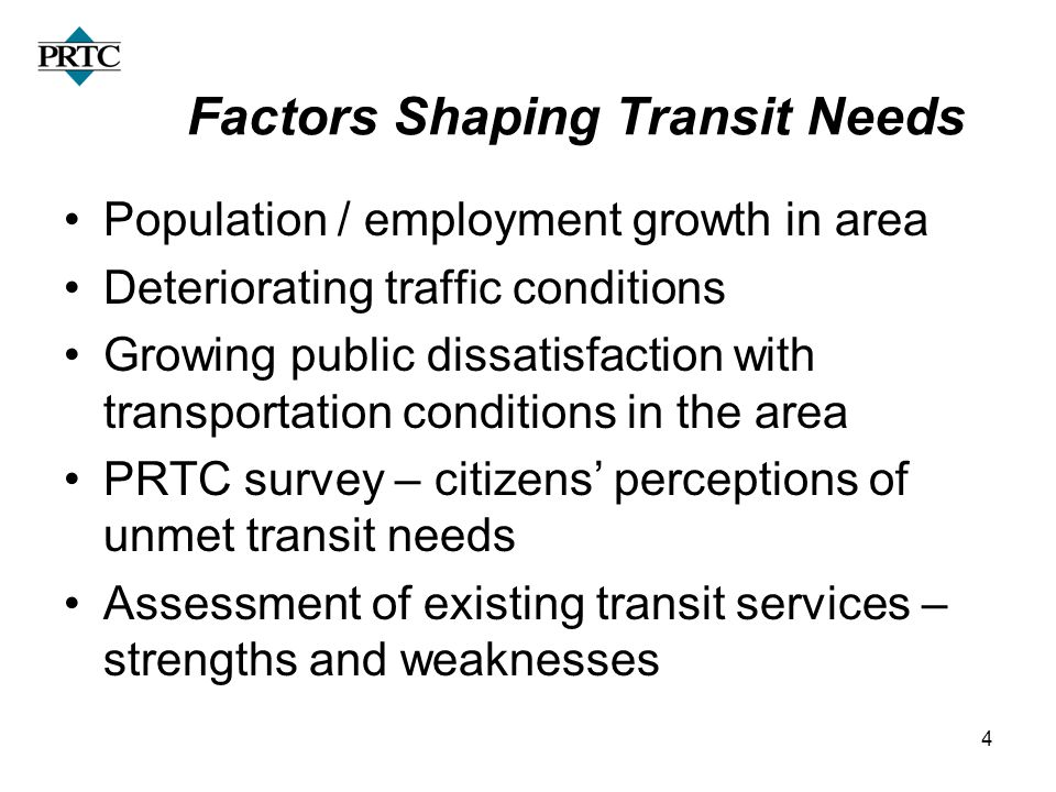 4 Factors Shaping Transit Needs Population / employment growth in area Deteriorating traffic conditions Growing public dissatisfaction with transporta