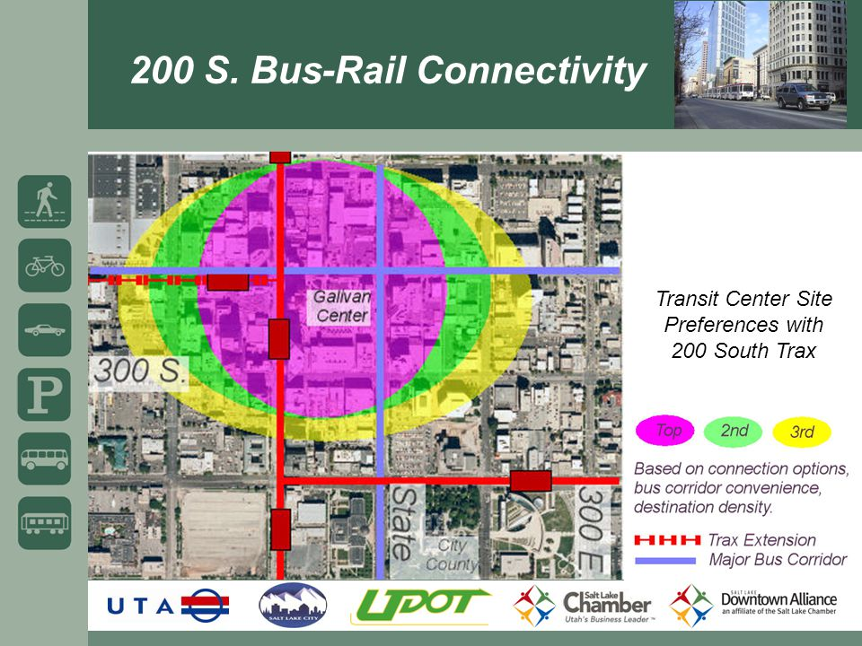 Transit Center Site Preferences with 200 South Trax 200 S. Bus-Rail Connectivity