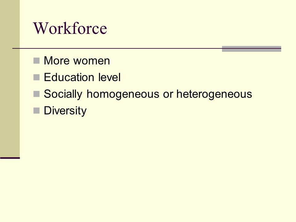 More women Education level Socially homogeneous or heterogeneous Diversity Workforce