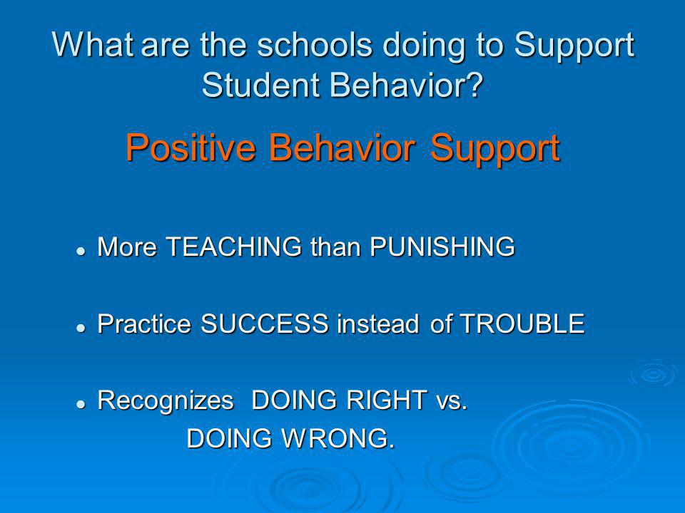 What are the schools doing to Support Student Behavior.