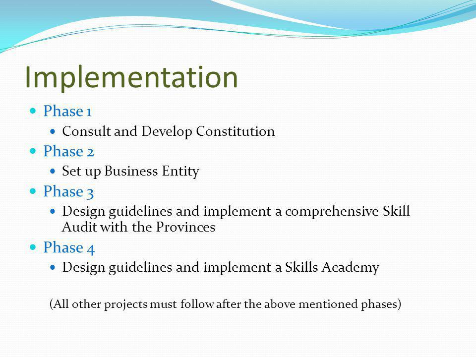 Implementation Phase 1 Consult and Develop Constitution Phase 2 Set up Business Entity Phase 3 Design guidelines and implement a comprehensive Skill Audit with the Provinces Phase 4 Design guidelines and implement a Skills Academy (All other projects must follow after the above mentioned phases)