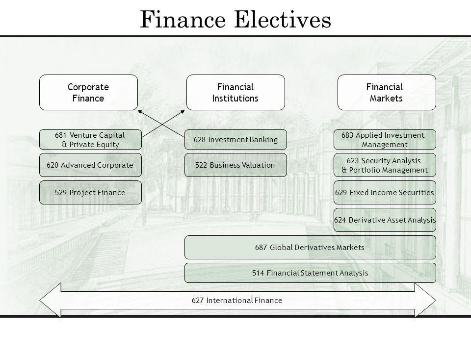 Finance Electives Corporate Finance Financial Institutions Financial Markets 627 International Finance 681 Venture Capital & Private Equity 620 Advanced Corporate 628 Investment Banking 683 Applied Investment Management 623 Security Analysis & Portfolio Management 514 Financial Statement Analysis 522 Business Valuation 687 Global Derivatives Markets 529 Project Finance 624 Derivative Asset Analysis 629 Fixed Income Securities