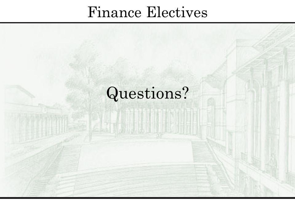 Questions? Finance Electives