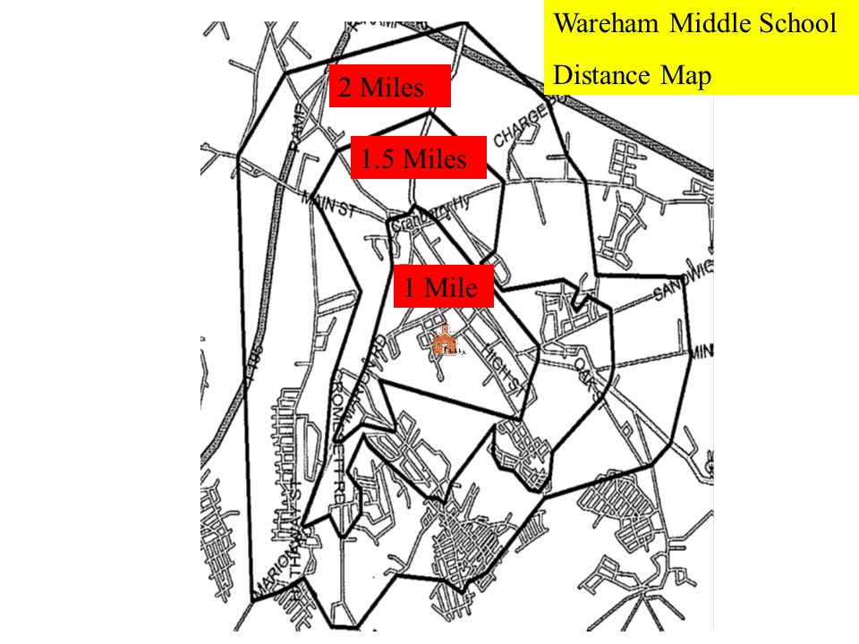 2 Miles 1.5 Miles 1 Mile Wareham Middle School Distance Map
