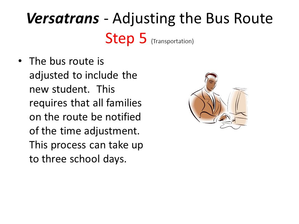 Versatrans - Adjusting the Bus Route Step 5 (Transportation) The bus route is adjusted to include the new student.