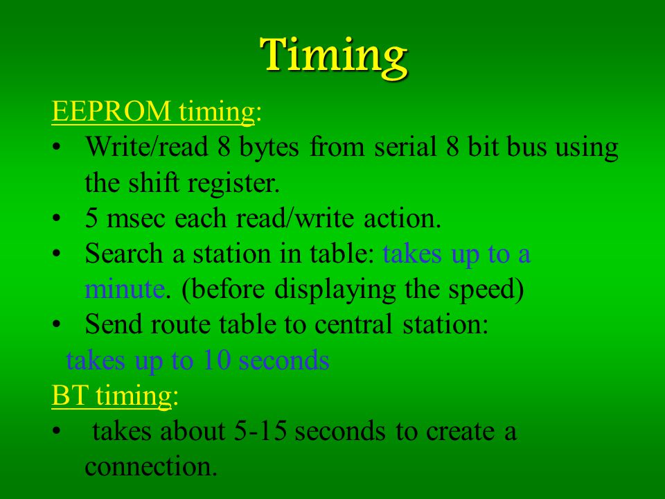 Timing EEPROM timing: Write/read 8 bytes from serial 8 bit bus using the shift register.