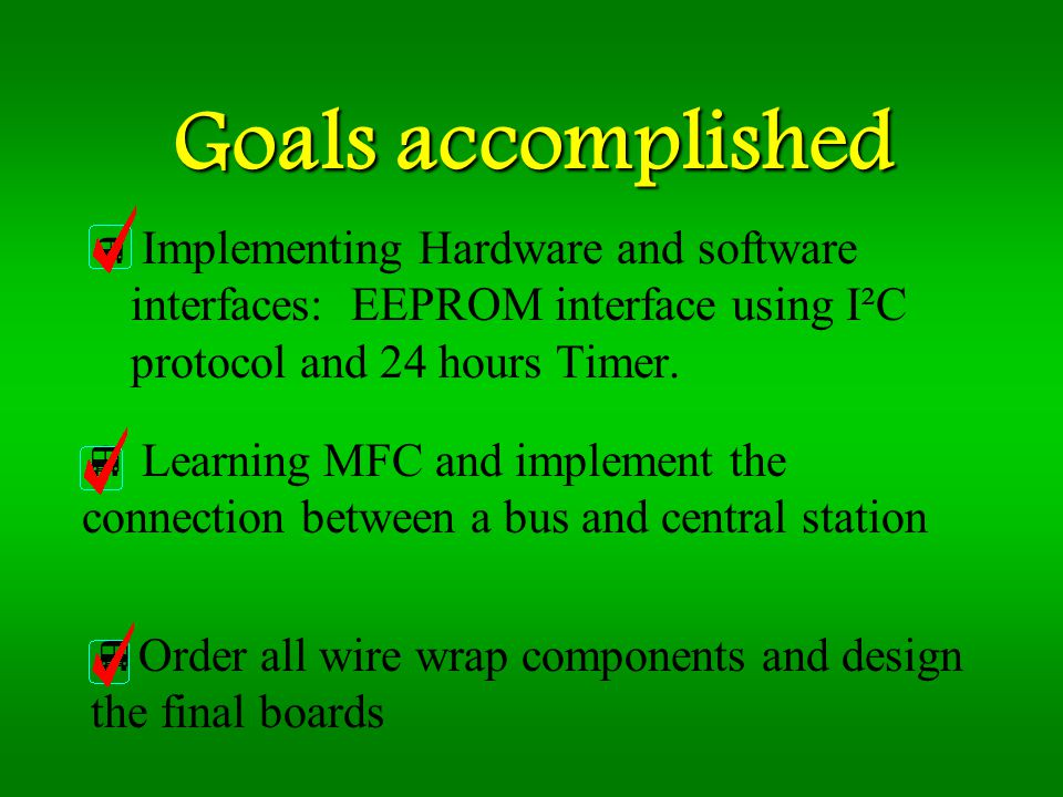 Goals accomplished Implementing Hardware and software interfaces: EEPROM interface using I²C protocol and 24 hours Timer.