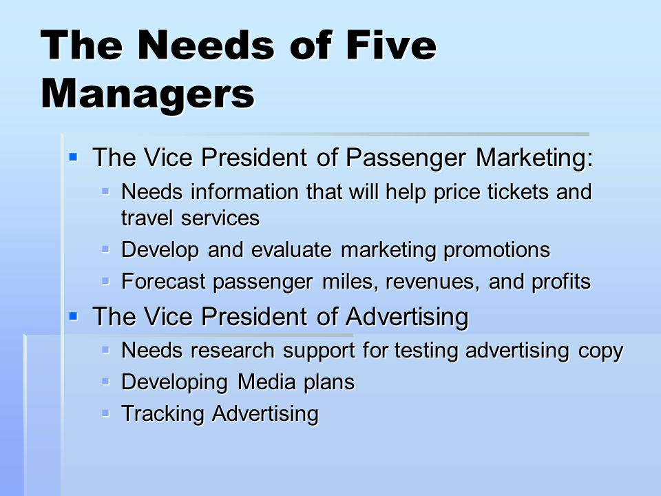 The Needs of Five Managers The Vice President of Passenger Marketing: The Vice President of Passenger Marketing: Needs information that will help pric