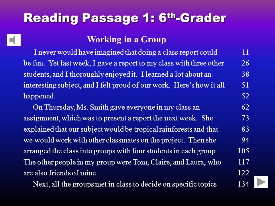 Reading Passage 1: 6 th -Grader Working in a Group I never would have imagined that doing a class report could be fun.