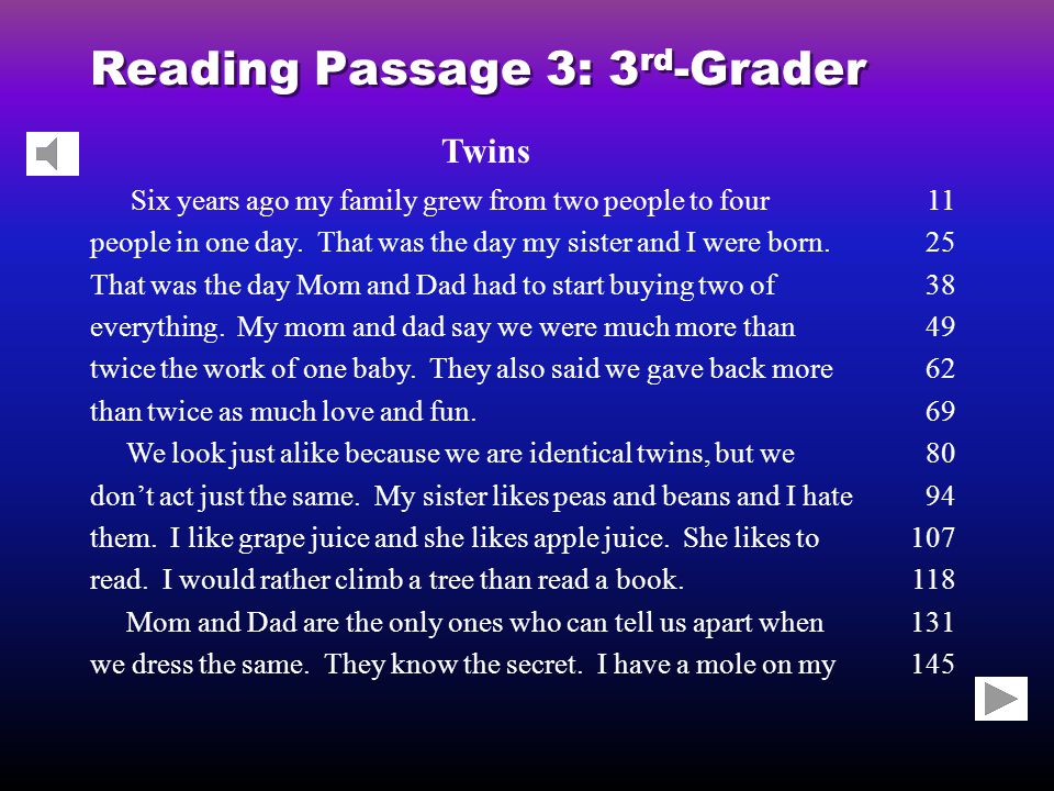 Reading Passage 3: 3 rd -Grader Twins Six years ago my family grew from two people to four people in one day.