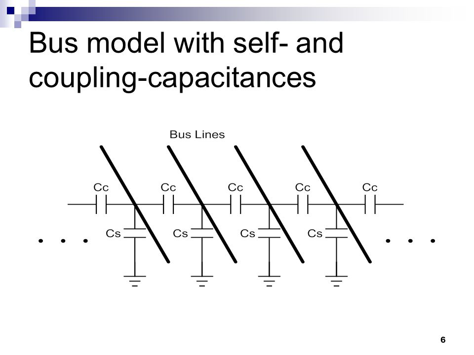 6 Bus model with self- and coupling-capacitances