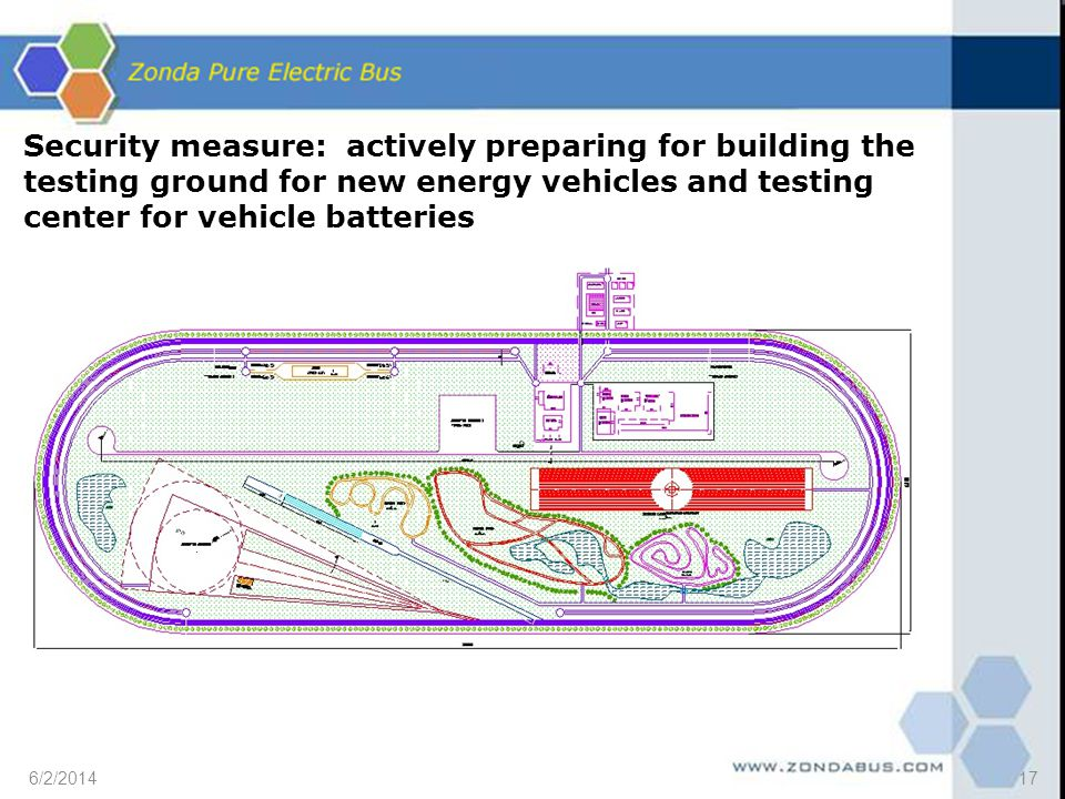 Security measure: actively preparing for building the testing ground for new energy vehicles and testing center for vehicle batteries 6/2/201417