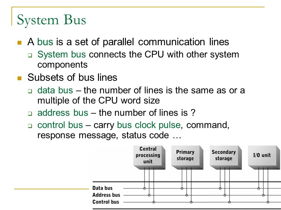 System Bus A bus is a set of parallel communication lines System bus connects the CPU with other system components Subsets of bus lines data bus – the