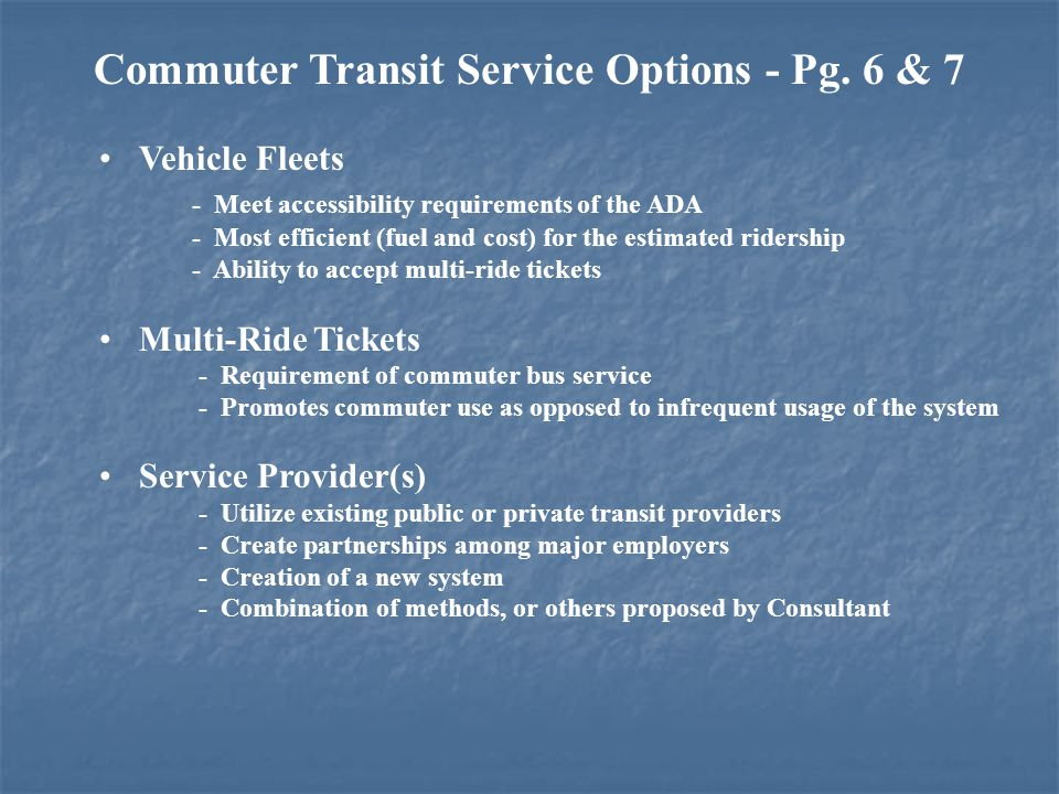 Commuter Transit Service Options - Pg.
