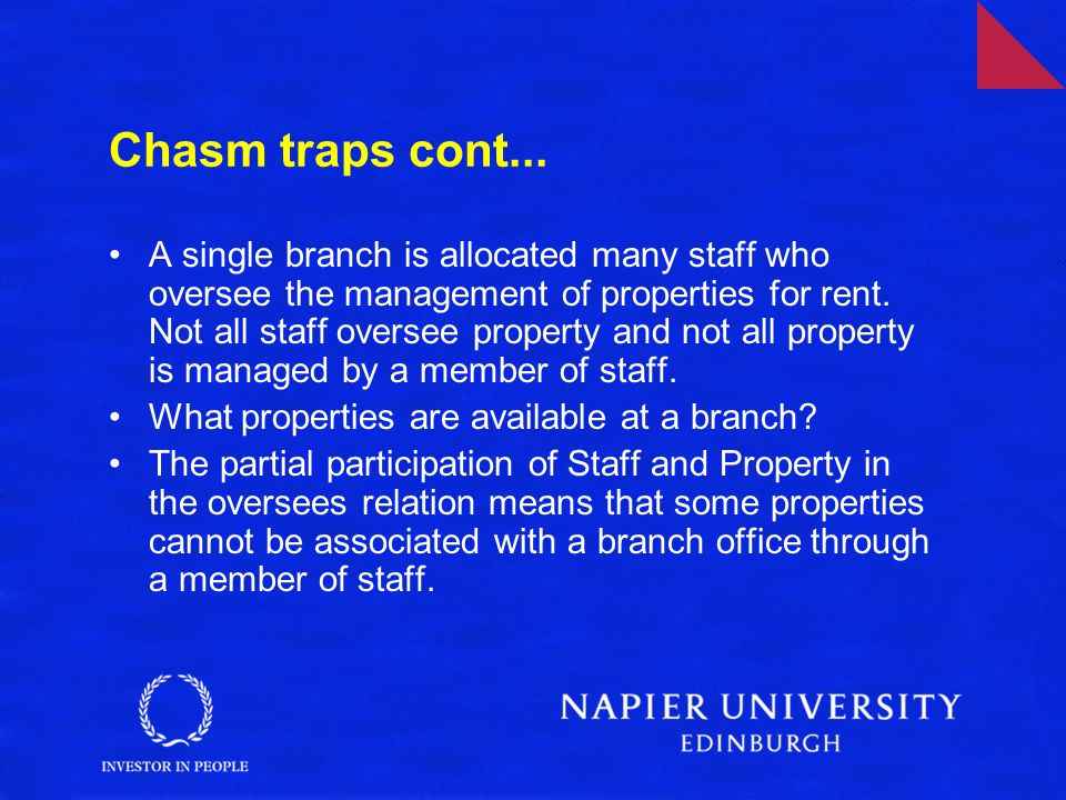 Chasm traps cont... A single branch is allocated many staff who oversee the management of properties for rent. Not all staff oversee property and not