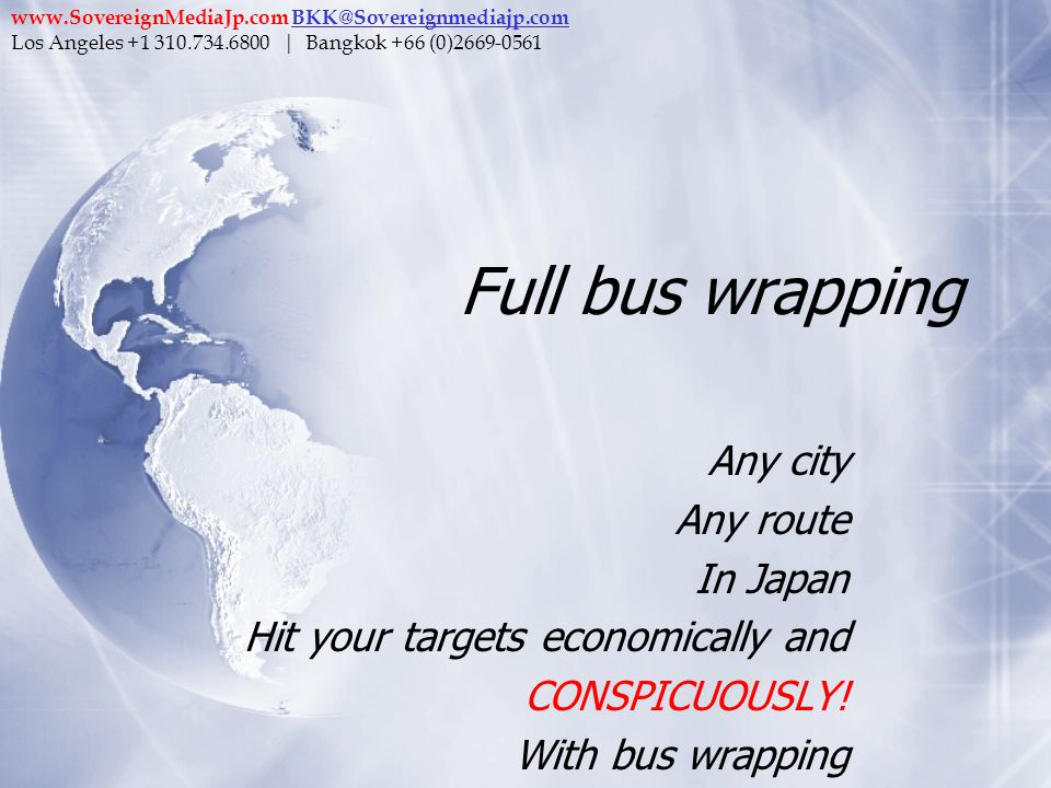 Full bus wrapping Any city Any route In Japan Hit your targets economically and CONSPICUOUSLY! With bus wrapping Any city Any route In Japan Hit your