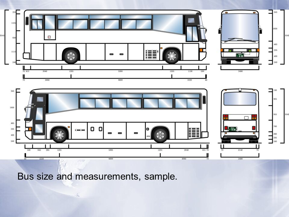 Bus size and measurements, sample.