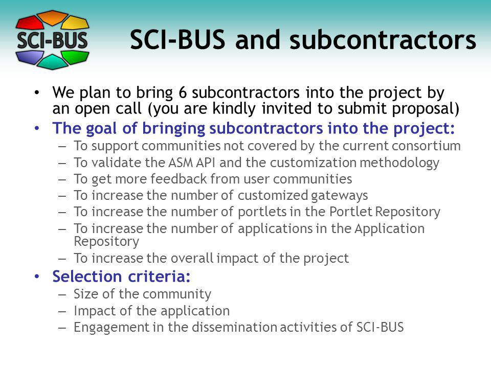 SCI-BUS and subcontractors We plan to bring 6 subcontractors into the project by an open call (you are kindly invited to submit proposal) The goal of bringing subcontractors into the project: – To support communities not covered by the current consortium – To validate the ASM API and the customization methodology – To get more feedback from user communities – To increase the number of customized gateways – To increase the number of portlets in the Portlet Repository – To increase the number of applications in the Application Repository – To increase the overall impact of the project Selection criteria: – Size of the community – Impact of the application – Engagement in the dissemination activities of SCI-BUS