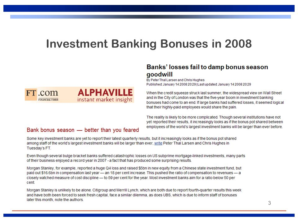 3 Investment Banking Bonuses in 2008