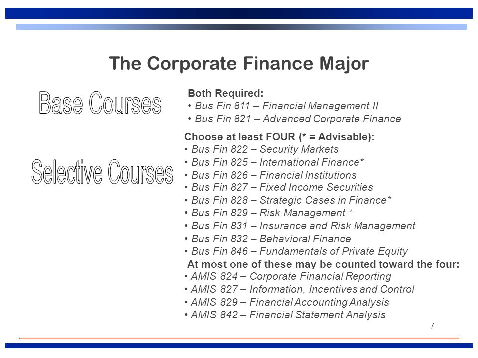 7 The Corporate Finance Major Both Required: Bus Fin 811 – Financial Management II Bus Fin 821 – Advanced Corporate Finance Choose at least FOUR (* =