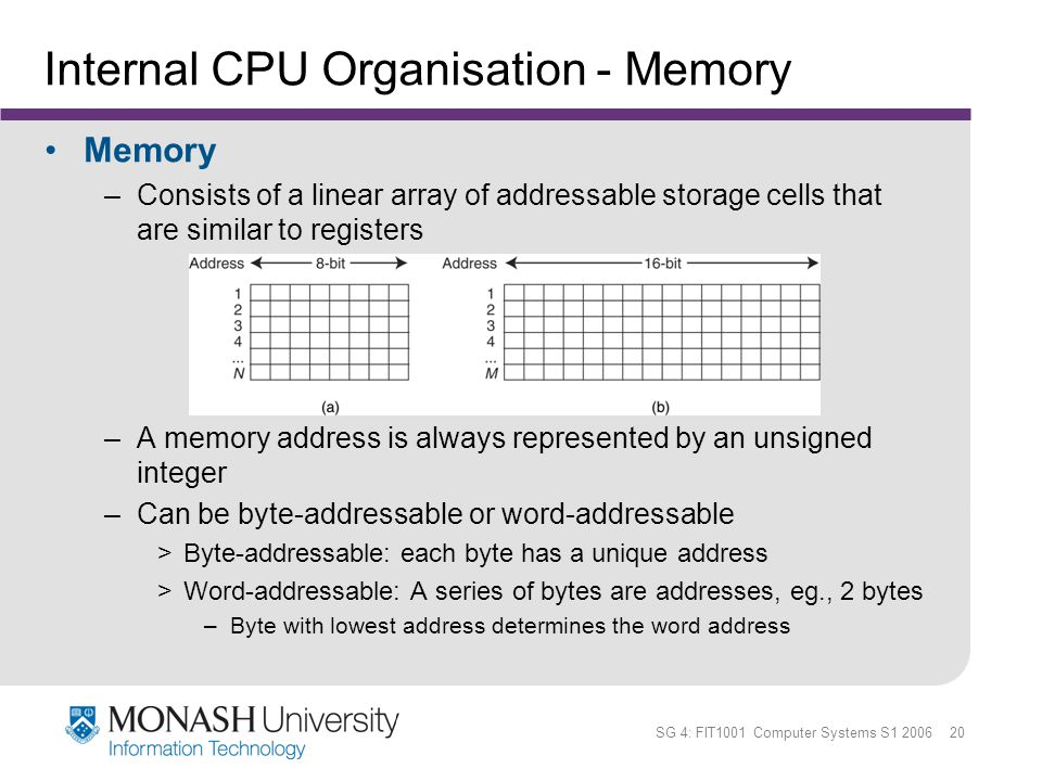 SG 4: FIT1001 Computer Systems S1 2006 20 Internal CPU Organisation - Memory Memory –Consists of a linear array of addressable storage cells that are