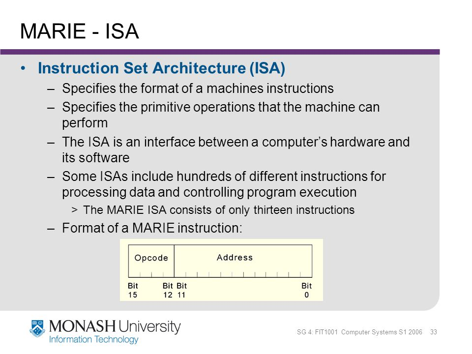 SG 4: FIT1001 Computer Systems S1 2006 33 MARIE - ISA Instruction Set Architecture (ISA) –Specifies the format of a machines instructions –Specifies t