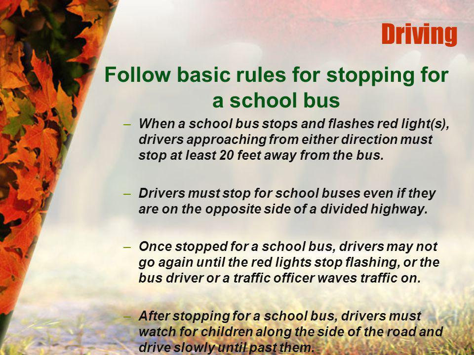 Driving Follow basic rules for stopping for a school bus –When a school bus stops and flashes red light(s), drivers approaching from either direction must stop at least 20 feet away from the bus.