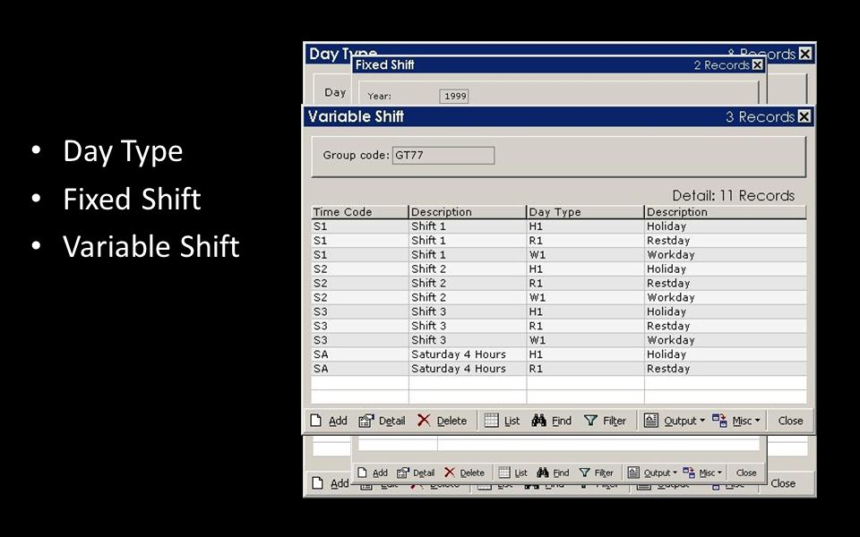 Day Type Fixed Shift Variable Shift