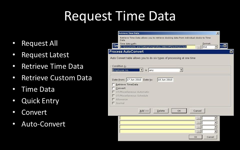 Request Time Data Request All Request Latest Retrieve Time Data Retrieve Custom Data Time Data Quick Entry Convert Auto-Convert