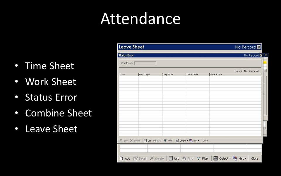 Attendance Time Sheet Work Sheet Status Error Combine Sheet Leave Sheet