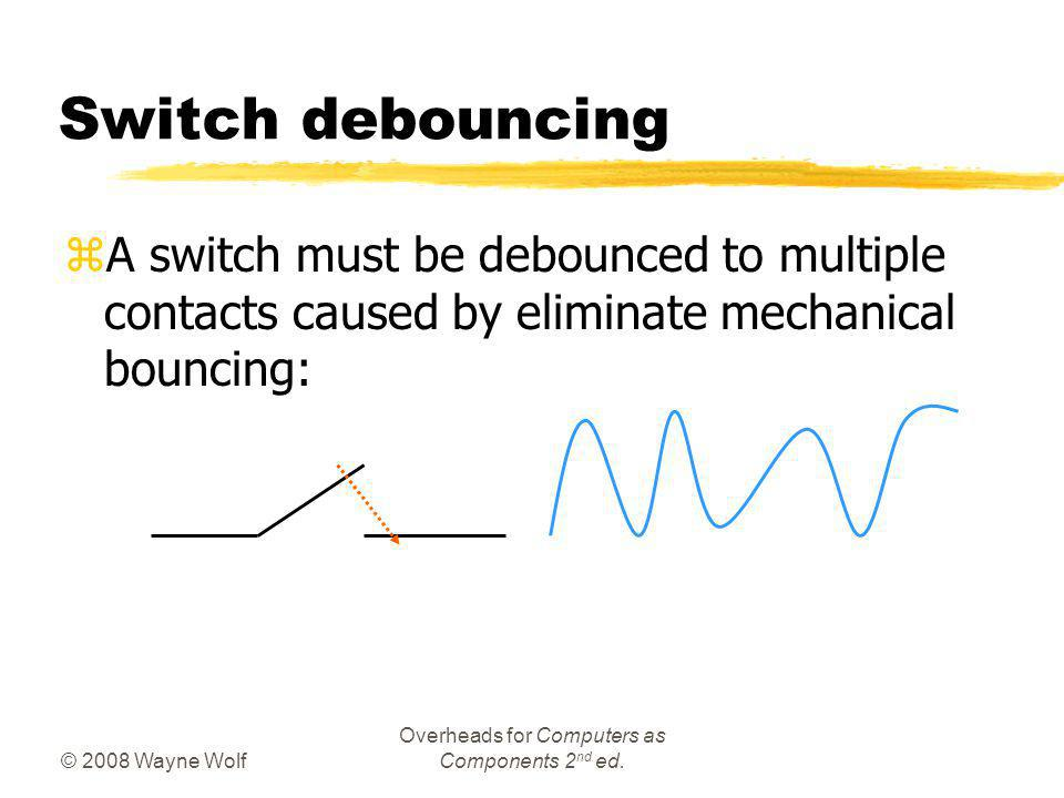 © 2008 Wayne Wolf Overheads for Computers as Components 2 nd ed. Switch debouncing zA switch must be debounced to multiple contacts caused by eliminat