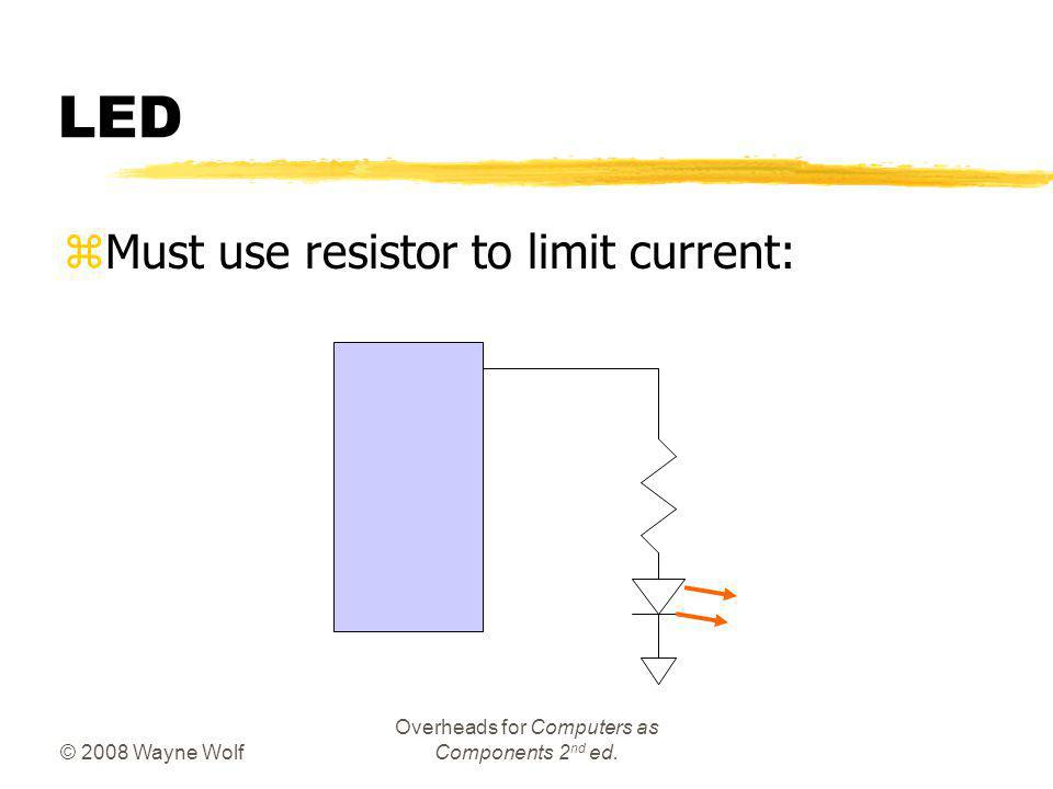 © 2008 Wayne Wolf Overheads for Computers as Components 2 nd ed. LED zMust use resistor to limit current: