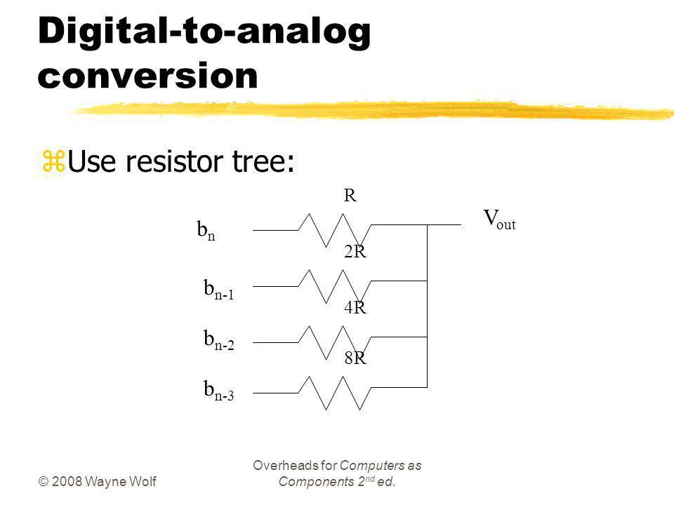© 2008 Wayne Wolf Overheads for Computers as Components 2 nd ed. Digital-to-analog conversion zUse resistor tree: R 2R 4R 8R bnbn b n-1 b n-2 b n-3 V