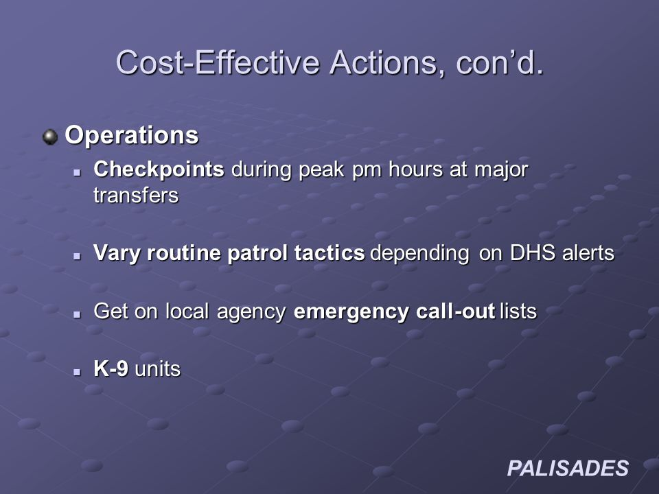PALISADES Cost-Effective Actions, cond.