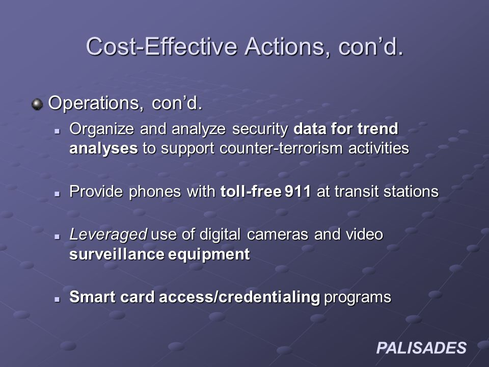 PALISADES Cost-Effective Actions, cond. Operations, cond.