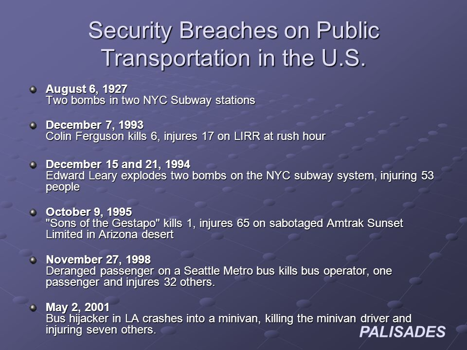 PALISADES Security Breaches on Public Transportation in the U.S.