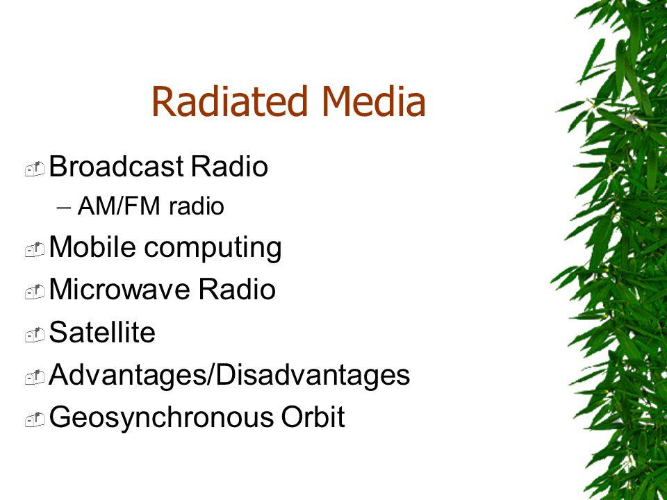 Radiated Media Broadcast Radio –AM/FM radio Mobile computing Microwave Radio Satellite Advantages/Disadvantages Geosynchronous Orbit
