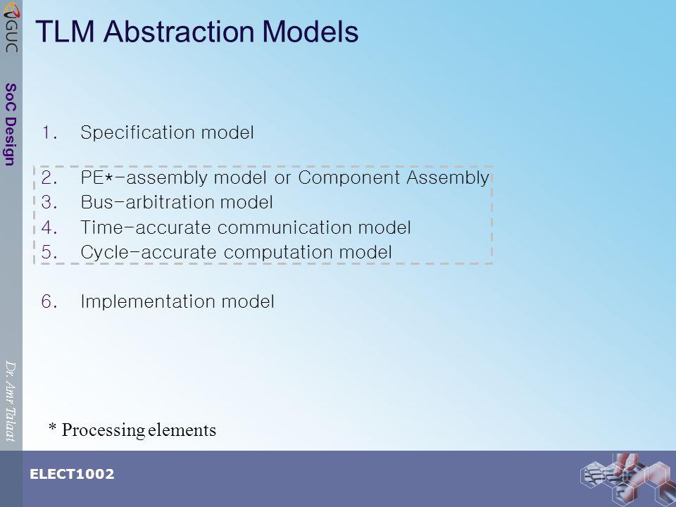 Dr.Amr Talaat ELECT1002 SoC Design 1. Specification model 2.