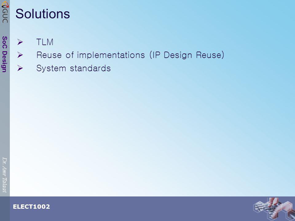 Dr. Amr Talaat ELECT1002 SoC Design Solutions TLM Reuse of implementations (IP Design Reuse) System standards