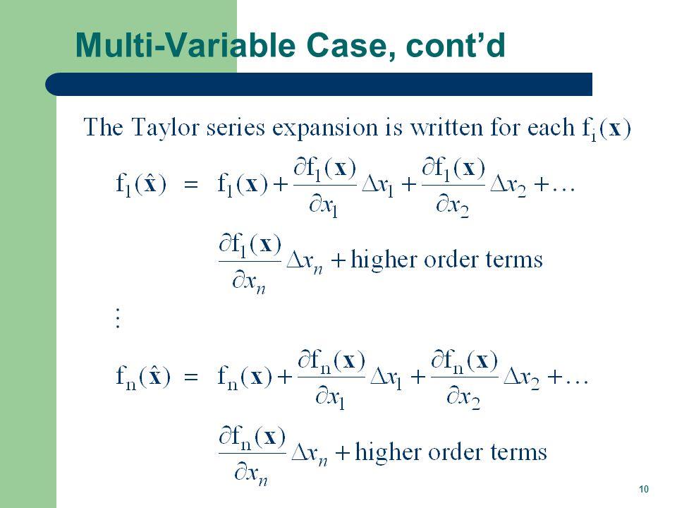 10 Multi-Variable Case, contd