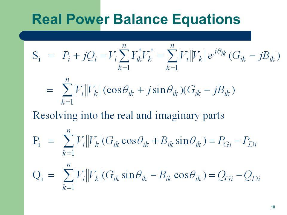 18 Real Power Balance Equations