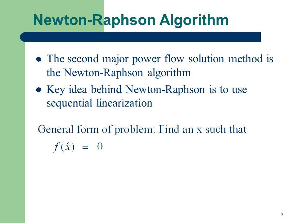 3 Newton-Raphson Algorithm The second major power flow solution method is the Newton-Raphson algorithm Key idea behind Newton-Raphson is to use sequen