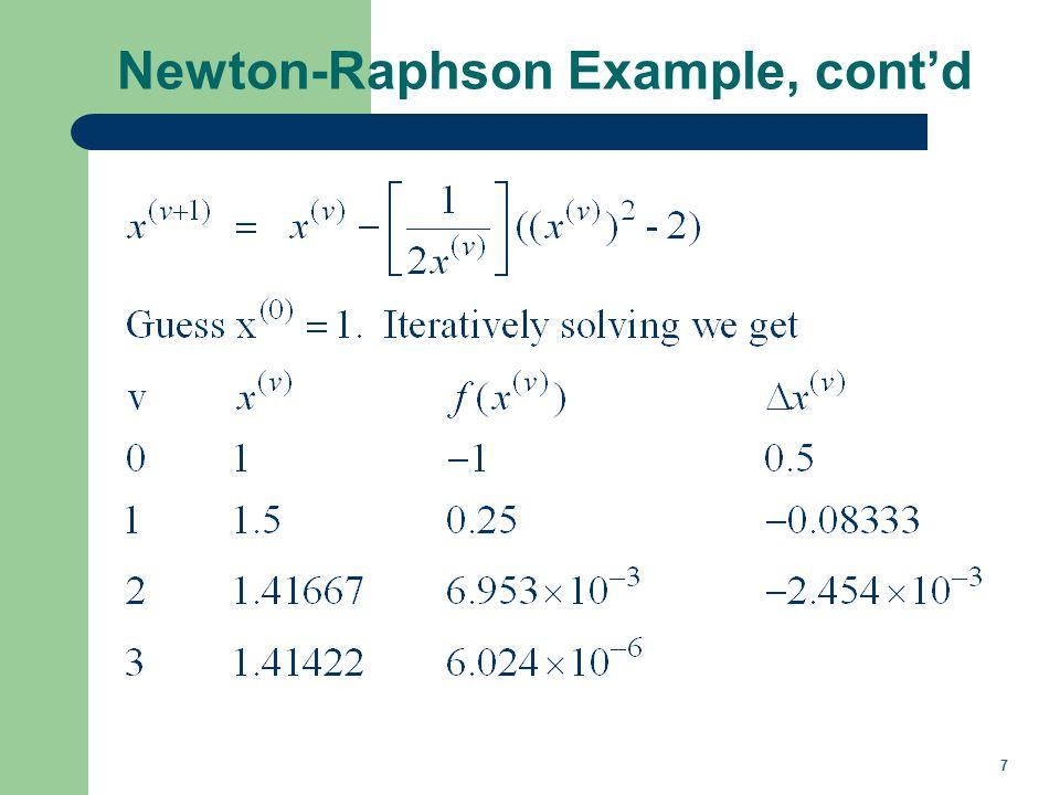 7 Newton-Raphson Example, contd