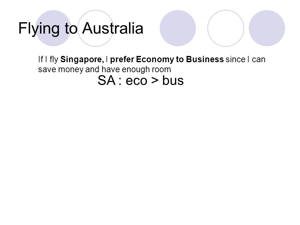 Flying to Australia If I fly Singapore, I prefer Economy to Business since I can save money and have enough room SA : eco > bus